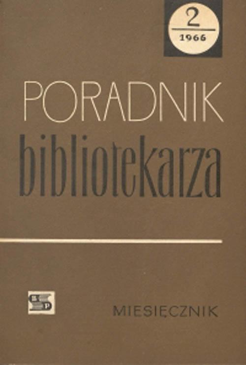 Okładka Poradnik Bibliotekarza 1966, nr 2