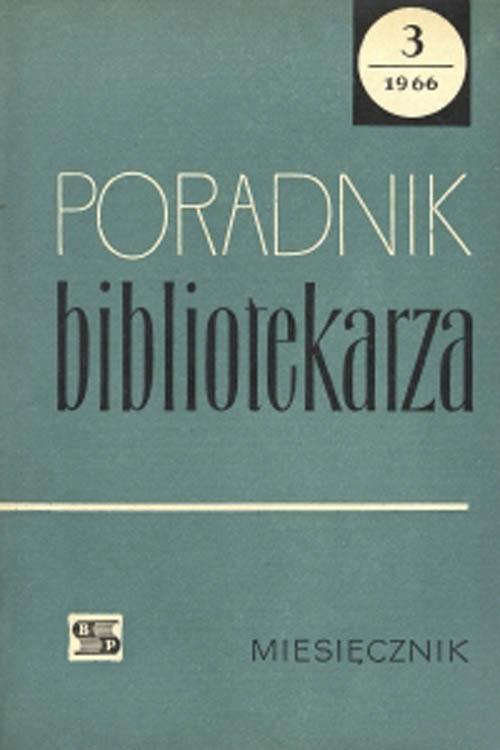 Okładka Poradnik Bibliotekarza 1966, nr 3