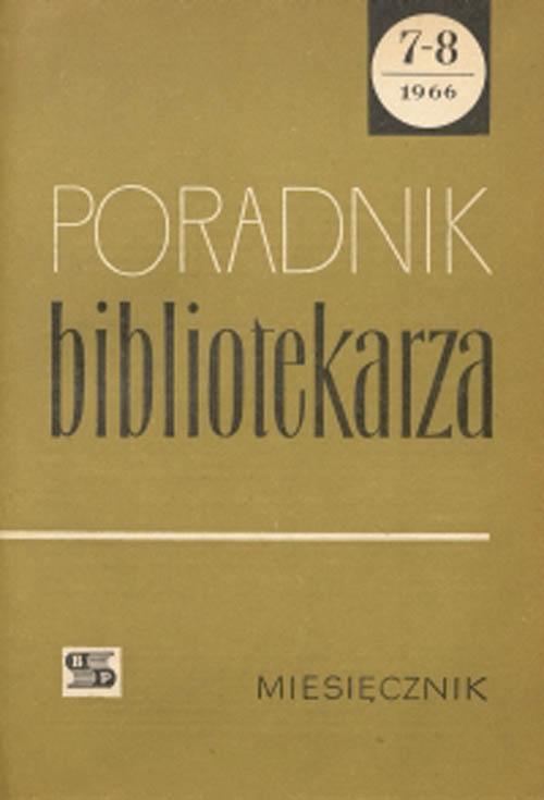 Okładka Poradnik Bibliotekarza 1966, nr 7-8