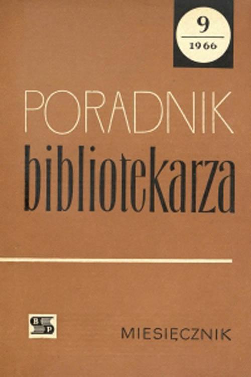 Poradnik Bibliotekarza 1966, nr 9