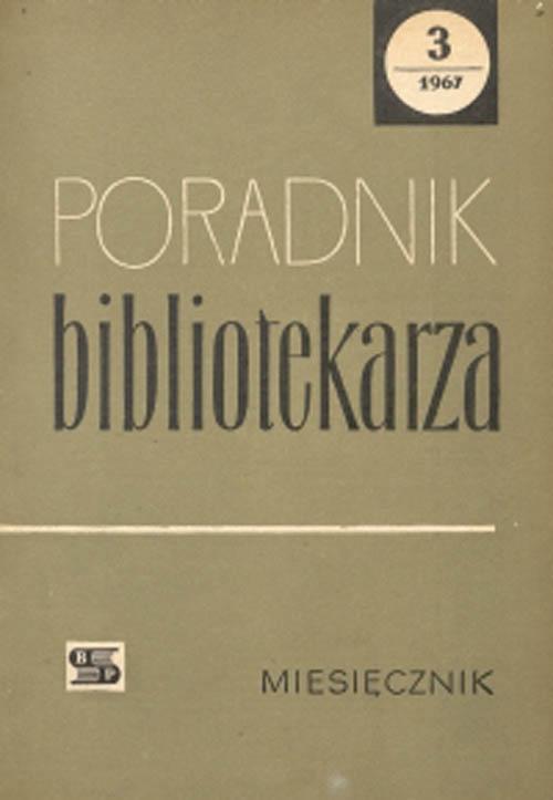 Okładka Poradnik Bibliotekarza 1967, nr 3