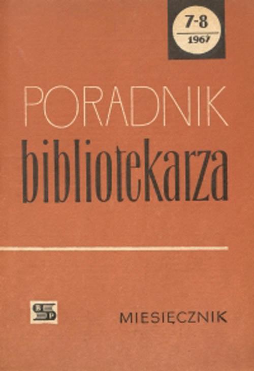 Okładka Poradnik Bibliotekarza 1967, nr 7-8