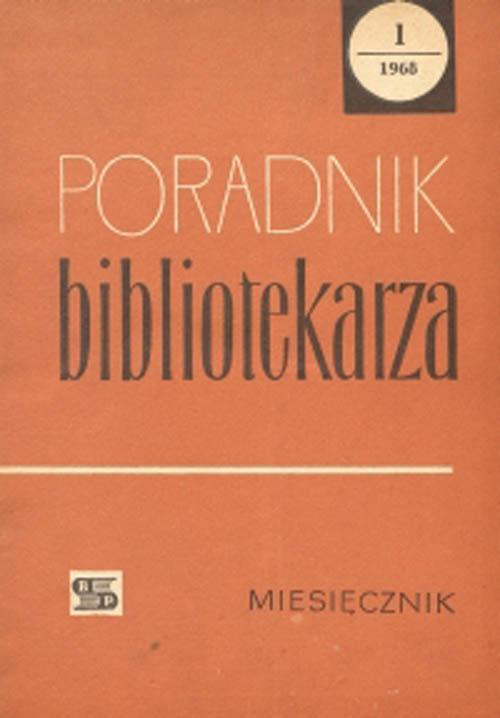 Okładka Poradnik Bibliotekarza 1968, nr 1
