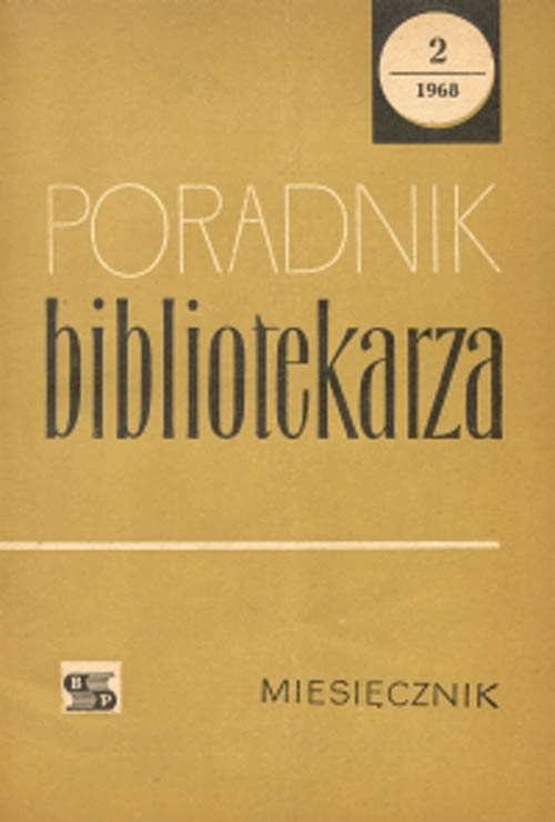 Okładka Poradnik Bibliotekarza 1968, nr 2