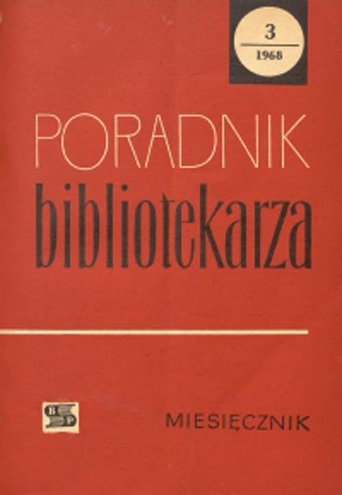 Okładka Poradnik Bibliotekarza 1968, nr 3
