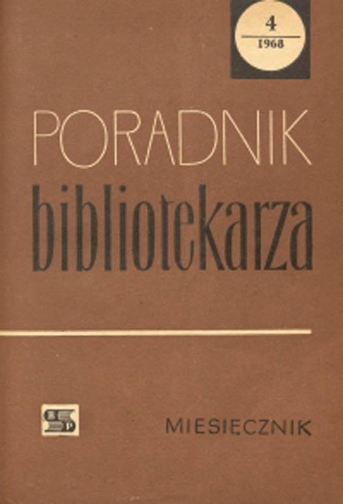 Okładka Poradnik Bibliotekarza 1968, nr 4