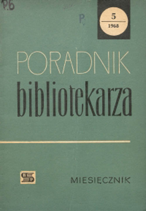 Okładka Poradnik Bibliotekarza 1968, nr 5