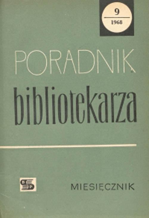 Okładka Poradnik Bibliotekarza 1968, nr 9