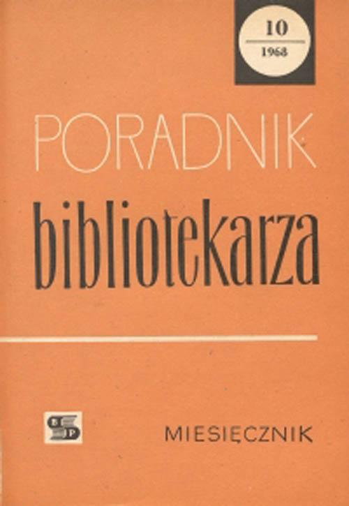 Okładka Poradnik Bibliotekarza 1968, nr 10