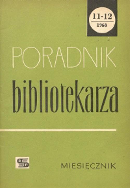 Okładka Poradnik Bibliotekarza 1968, nr 11-12