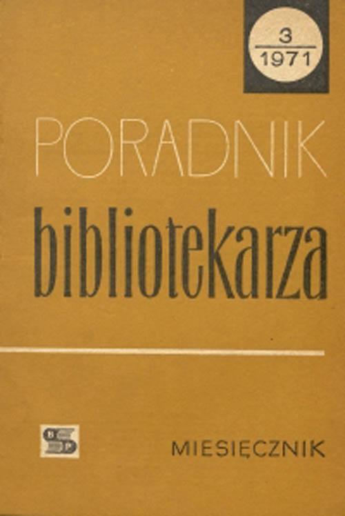 Okładka Poradnik Bibliotekarza 1971, nr 3