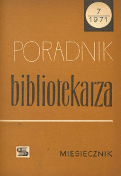 Poradnik Bibliotekarza 1971, nr 7