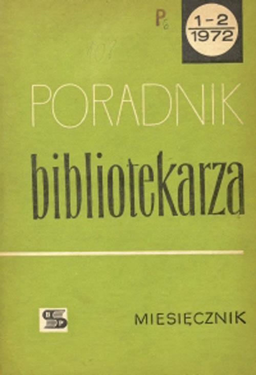 Okładka Poradnik Bibliotekarza 1972, nr 1-2