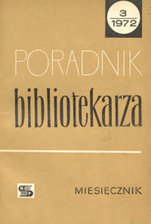 Okładka Poradnik Bibliotekarza 1972, nr 3