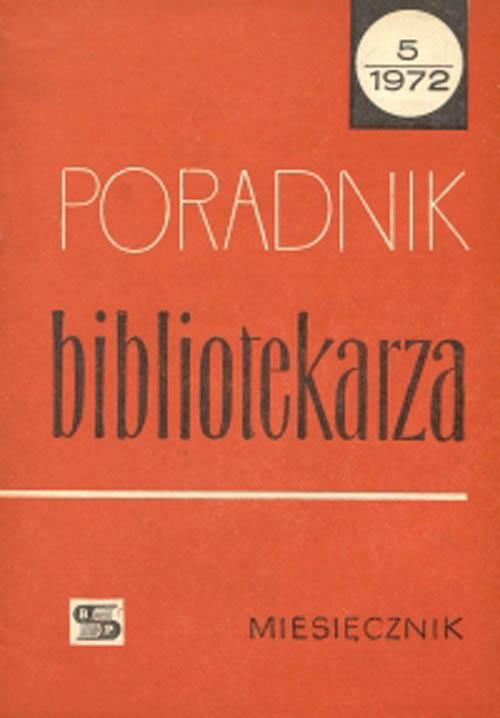Okładka Poradnik Bibliotekarza 1972, nr 5