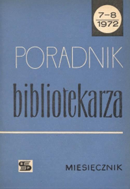 Okładka Poradnik Bibliotekarza 1972, nr 7-8