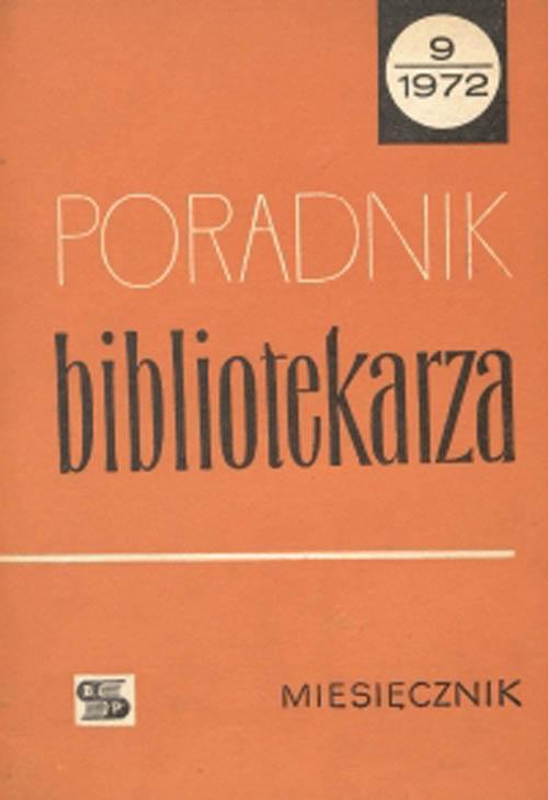 Okładka Poradnik Bibliotekarza 1972, nr 9