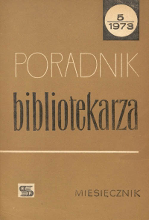 Okładka Poradnik Bibliotekarza 1973, nr 5