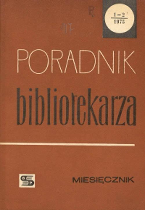 Okładka Poradnik Bibliotekarza 1975, nr 1-2