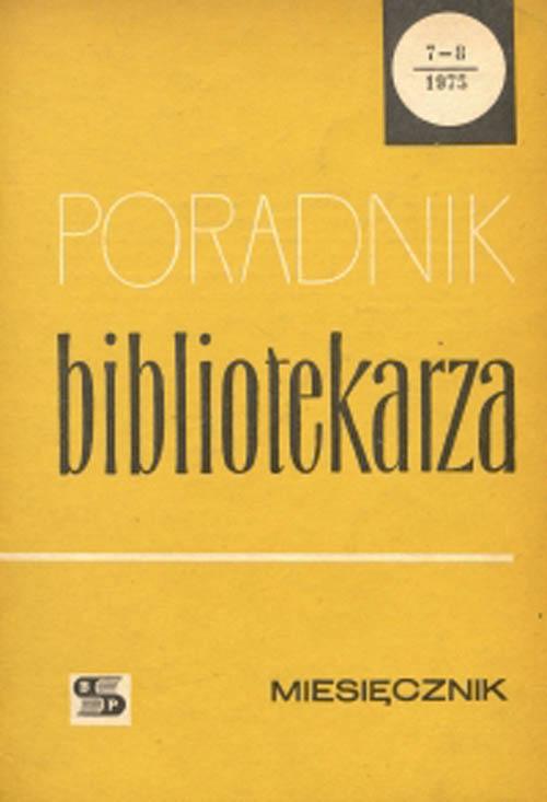Okładka Poradnik Bibliotekarza 1975, nr 7-8