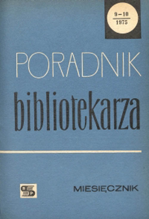 Okładka Poradnik Bibliotekarza 1975, nr 9-10