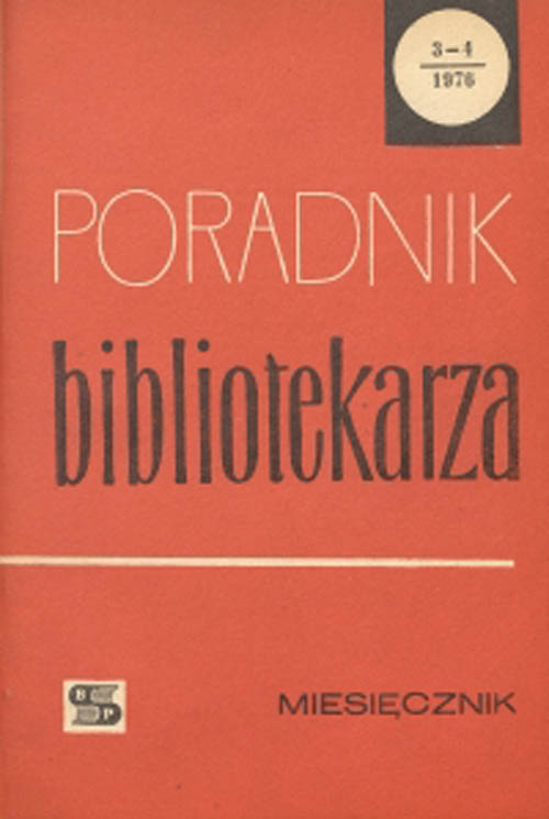 Okładka Poradnik Bibliotekarza 1976, nr 3-4