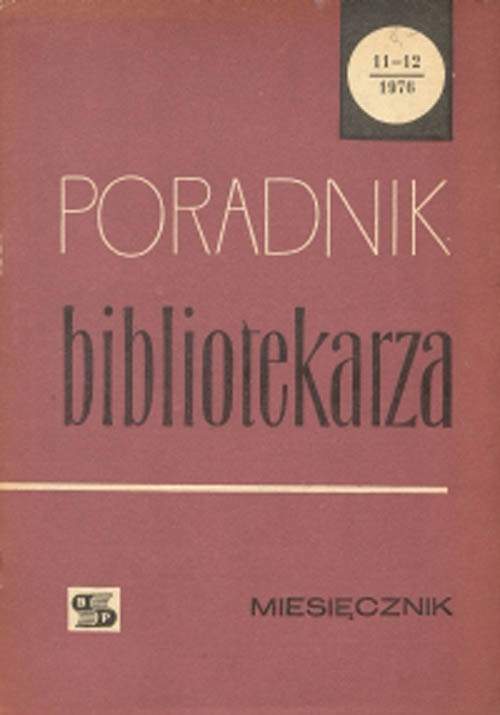 Okładka Poradnik Bibliotekarza 1976, nr 11-12