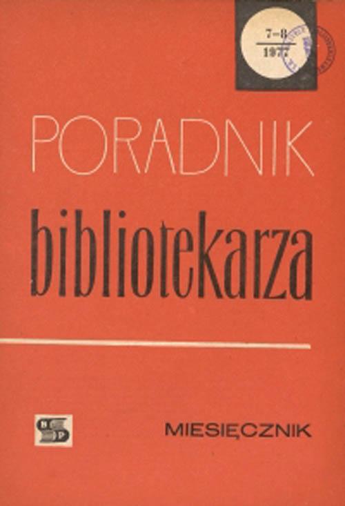 Okładka Poradnik Bibliotekarza 1977, nr 7-8