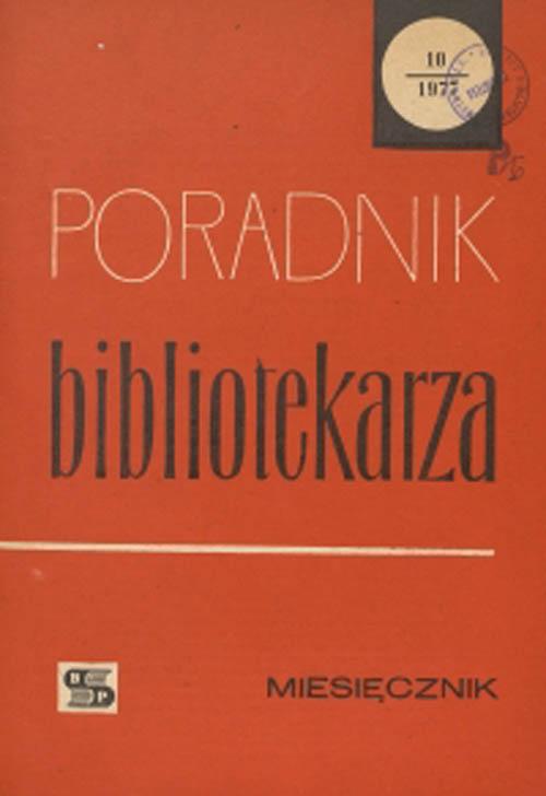 Okładka Poradnik Bibliotekarza 1977, nr 10