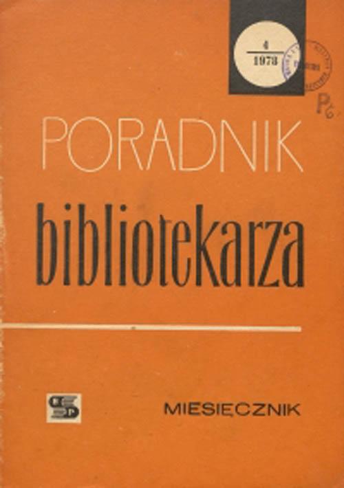 Okładka Poradnik Bibliotekarza 1978, nr 4