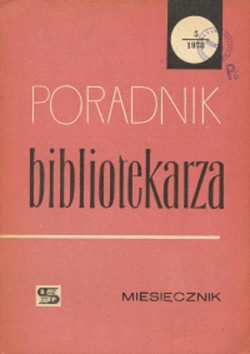 Okładka Poradnik Bibliotekarza 1978, nr 5