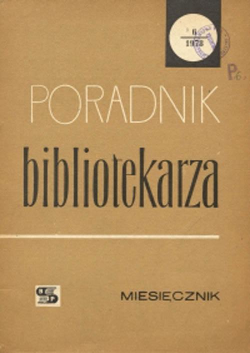 Okładka Poradnik Bibliotekarza 1978, nr 6