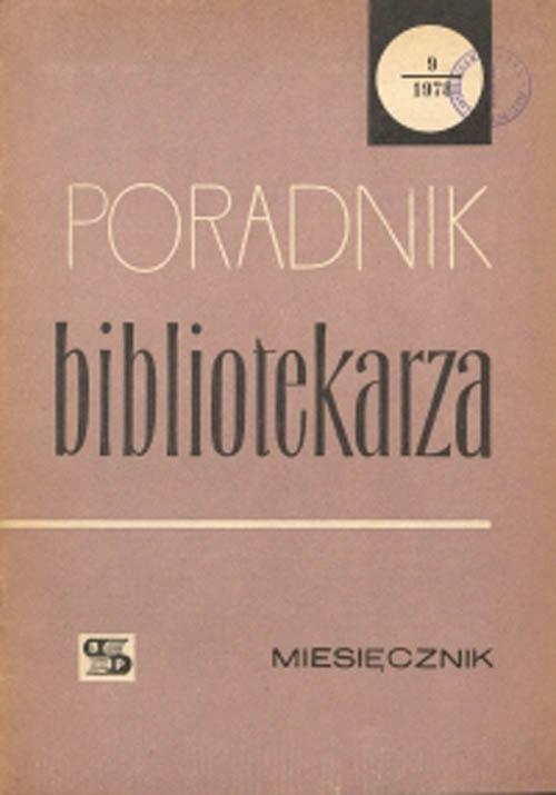 Okładka Poradnik Bibliotekarza 1978, nr 9