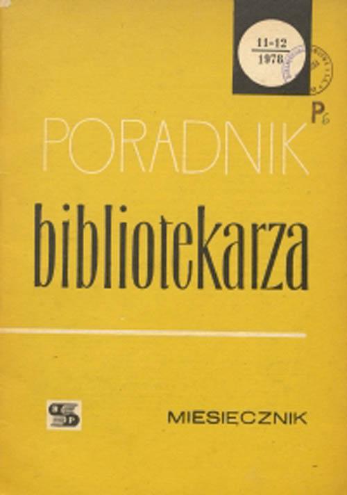 Okładka Poradnik Bibliotekarza 1978, nr 11-12