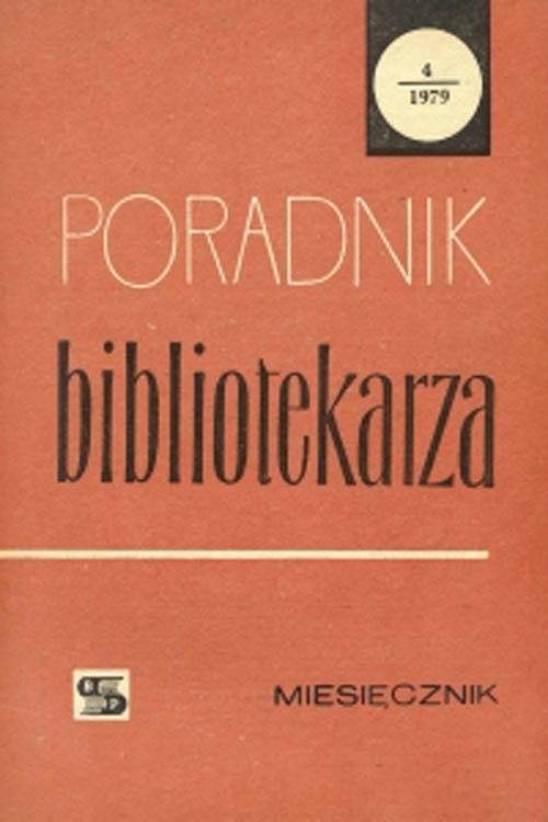 Okładka Poradnik Bibliotekarza 1979, nr 4