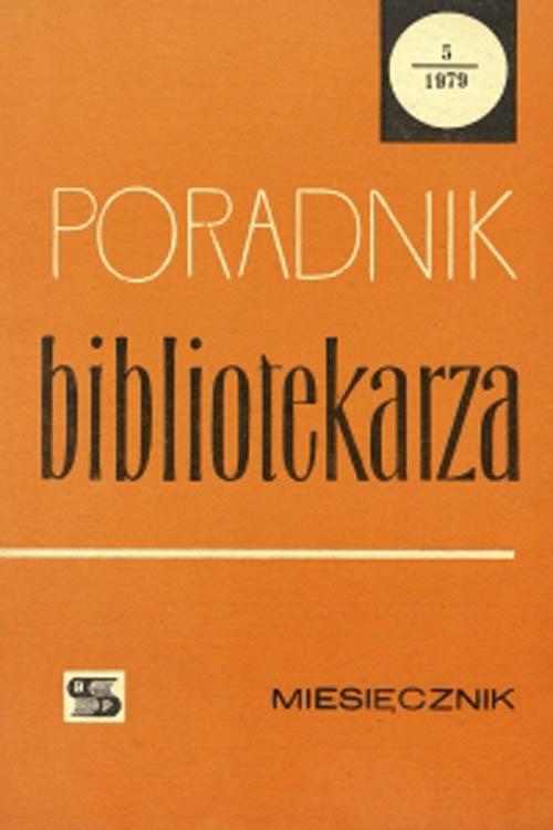 Okładka Poradnik Bibliotekarza 1979, nr 5