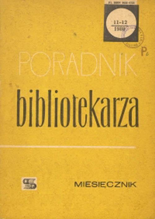 Okładka Poradnik Bibliotekarza 1980, nr 11-12