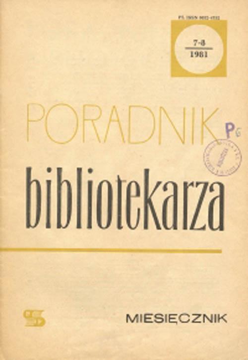Poradnik Bibliotekarza 1981, nr 7-8