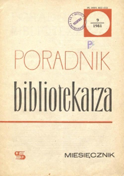 Okładka Poradnik Bibliotekarza 1981, nr 9