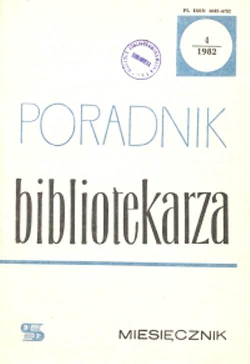 Okładka Poradnik Bibliotekarza 1982, nr 4