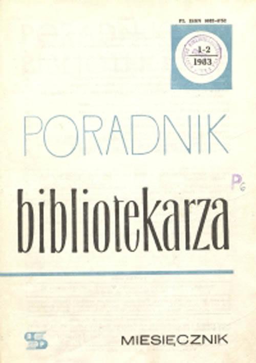 Okładka Poradnik Bibliotekarza 1983, nr 1-2