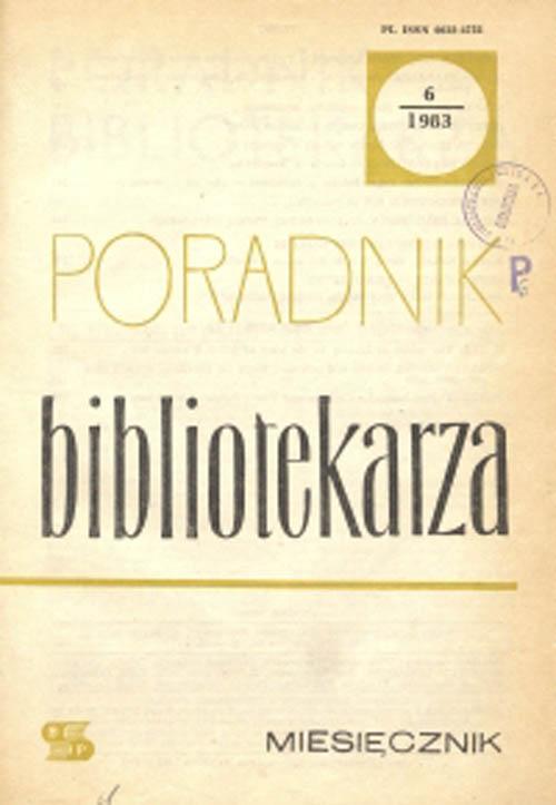 Okładka Poradnik Bibliotekarza 1983, nr 6