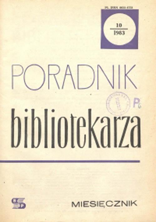 Okładka Poradnik Bibliotekarza 1983, nr 10