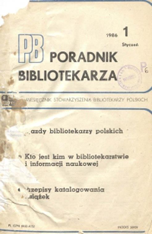 Okładka Poradnik Bibliotekarza 1986, nr 1