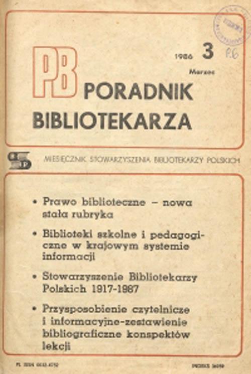Okładka Poradnik Bibliotekarza 1986, nr 3
