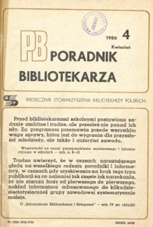 Okładka Poradnik Bibliotekarza 1986, nr 4
