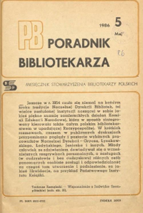 Poradnik Bibliotekarza 1986, nr 5