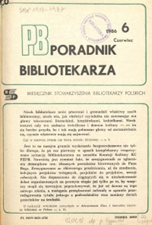 Okładka Poradnik Bibliotekarza 1986, nr 6