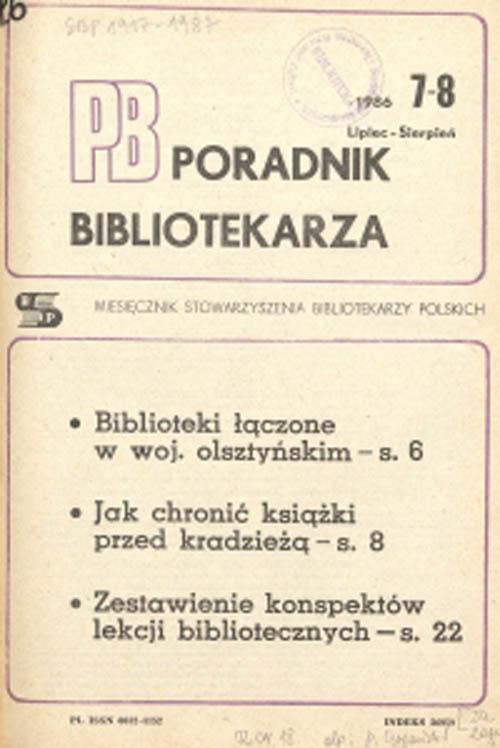 Okładka Poradnik Bibliotekarza 1986, nr 7-8