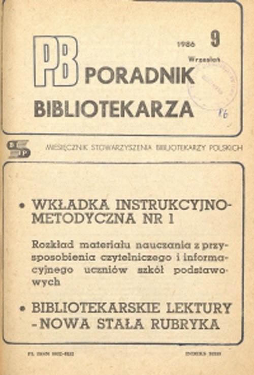Okładka Poradnik Bibliotekarza 1986, nr 9